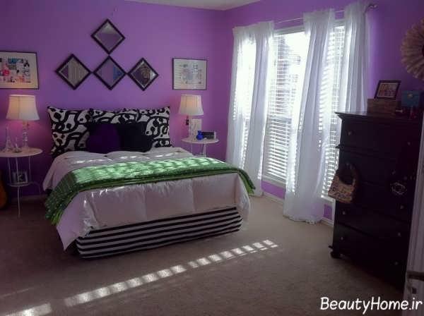 اتاق خواب بنفش با دکوراسیون های مدرن