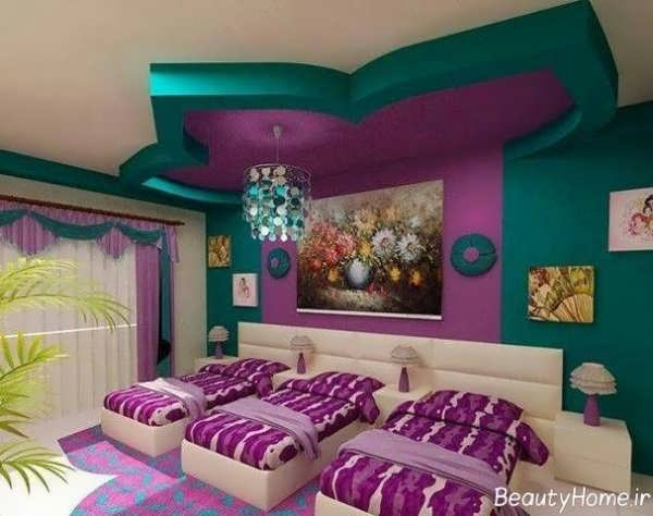 دکوراسیون سبز و بنفش اتاق خواب