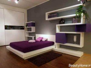 اتاق خواب با دکوراسیون بنفش