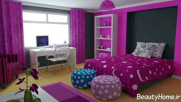 اتاق خواب زیبا بنفش