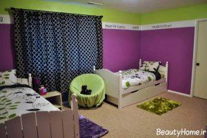 اتاق خواب کودک با رنگ بنفش