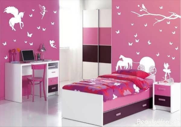 اتاق خواب زیبا و جدید برای کودک با رنگ بنفش