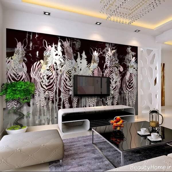 طراحی و تزینن مدرن دیوار پشت تلویزیون