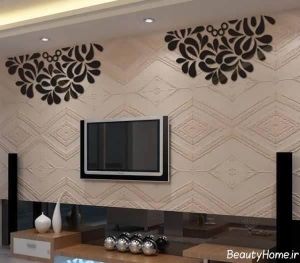 دیزاین ساده دیوار پشت تلویزیون