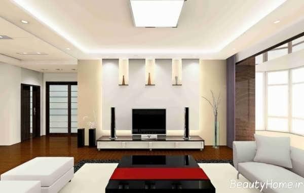 دیزاین ساده بر روی دیوار پشت تلویزیون