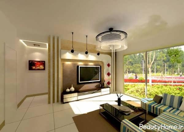 طراحی دیوار پشت تلویزیون با ایده های خلاقانه