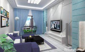 طراحی ساده دیوار پشت تلویزیون