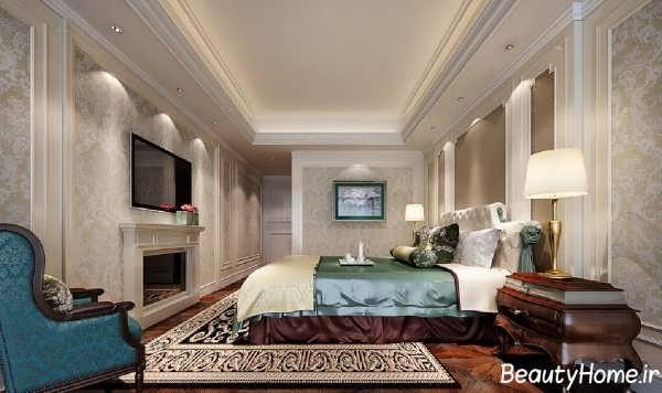 دیزاین اتاق خواب با کاغذ دیواری