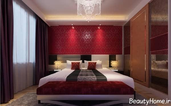 نورپردازی و کاغذ دیواری برای اتاق خواب
