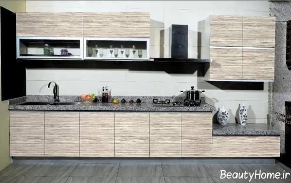 طراحی کابینت آشپزخانه با رنگ روشن