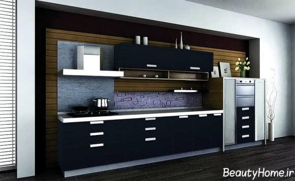 طراحی کابینت آشپزخانه با رنگ مشکی