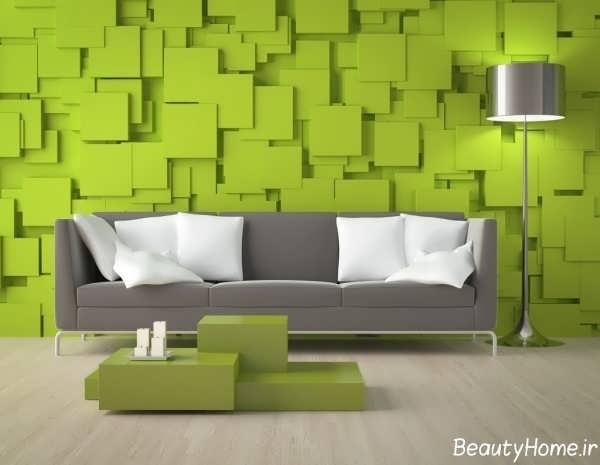 کاغذ دیواری سبز سه بعدی