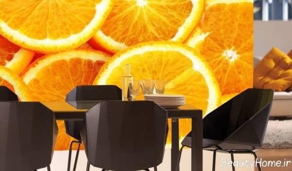 کاغذ دیواری سه بعدی با طرح میوه