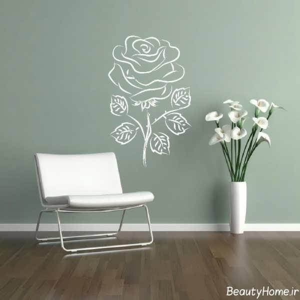 کاغذ دیواری پذیرایی با طرح ساده گل