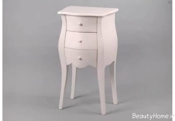 میز تلفن سفید با طرح زیبا و شیک