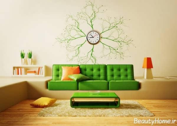 تزیین ساده و زیبا دیوار پذیرایی با ساعت فانتزی