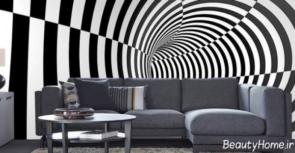 تزیین دیوار با کاغذ دیواری سه بعدی