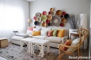 تزیین زیبا و متفاوت دیوار با ظروف