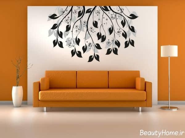 تزیین ساده دیوار اتاق پذیرایی با نقاشی