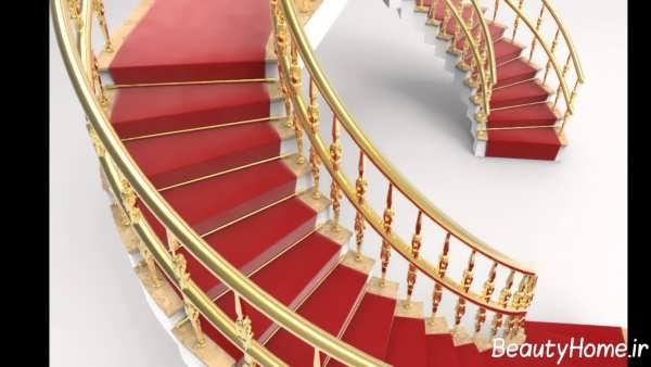نرده زیبا با رنگ طلایی برای راه پله ها