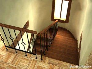 نرده های چوبی و استیل برای راه پله ها