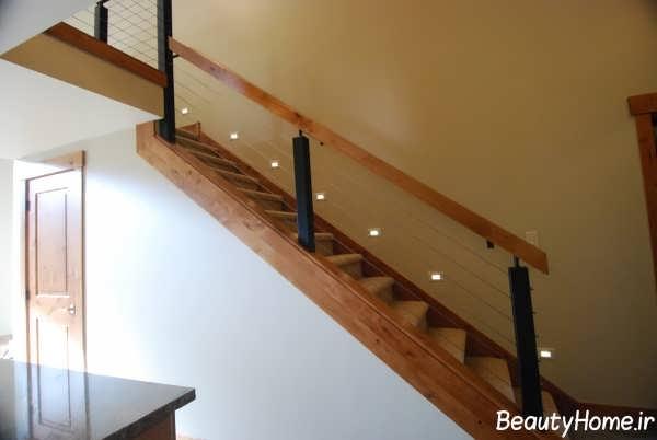 نرده چوبی و شیشه ای راه پله