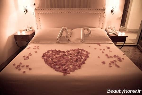 تزیین تختخواب عروس با طرح قلب