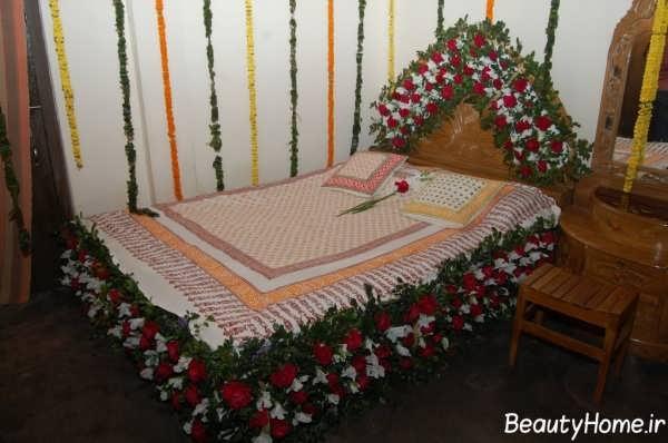 تزیین تختخواب عروس با گل
