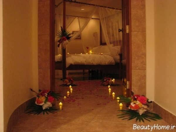 تزیین کردن اتاق خواب عروس با کمک شمع