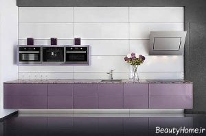 کابینت آشپزخانه با ترکیب رنگ های بنفش و طوسی