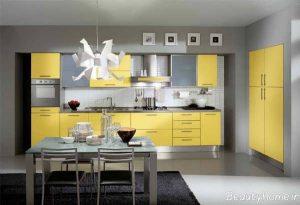 کابینت آشپزخانه با رنگ زرد