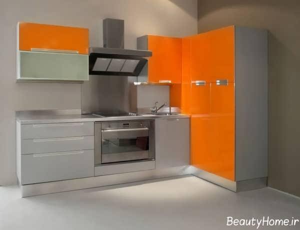 کابینت نارنجی و طوسی برای آشپزخانه