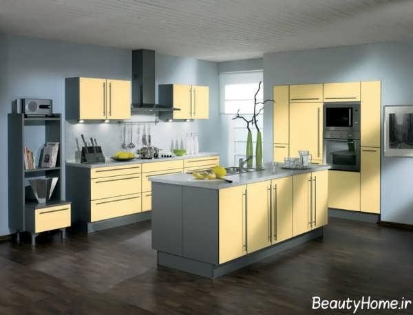 مدل کابینت با ترکیب رنگ زرد و خاکستری