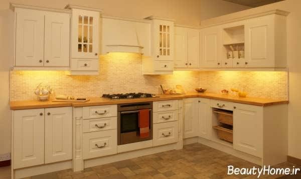 مدل کابینت و نورپردازی در آشپزخانه