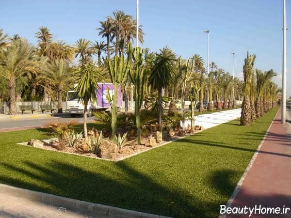 فضای سبز با چمن و درخت