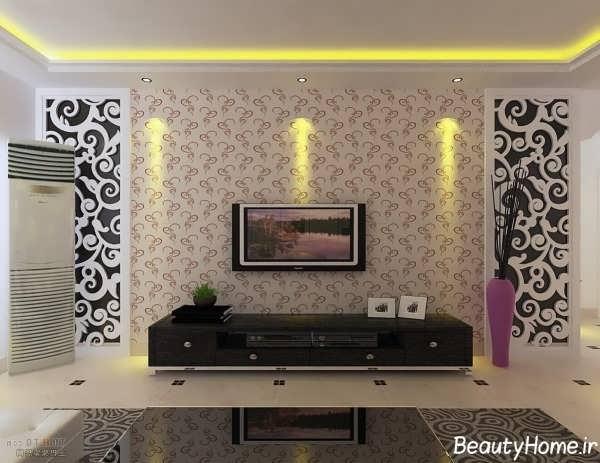 نورپردازی و کاغذ دیواری برای پشت تلویزیون