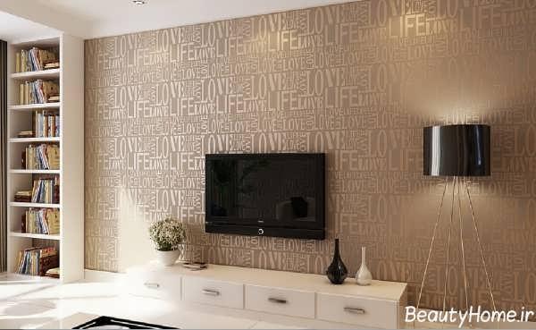 کاغذ دیواری پشت تلویزیون با طرح های ساده و سه بعدی