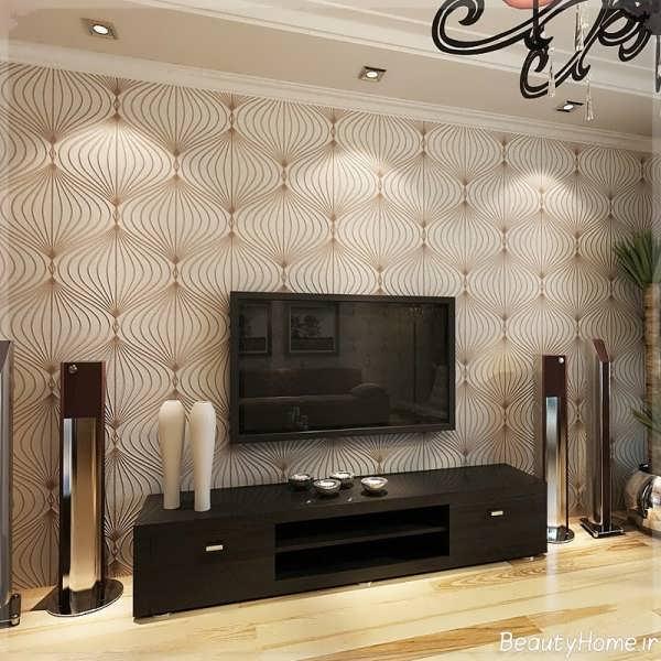 کاغذ دیواری پشت تلویزیون با طراحی بی نظیر