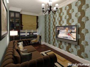 کاغذ دیواری ساده و زیبا برای پشت تلویزیون