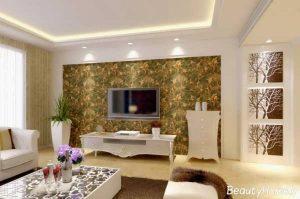 کاغذ دیواری و نورپردازی زیبا بر روی دیوار پشت تلویزیون
