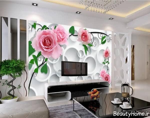 کاغذ دیواری ساده و زیبا برای دیوار پشت تلویزیون