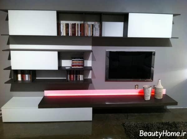 میز تلویزیون چوبی و فلزی