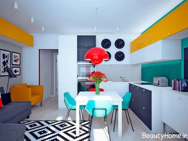 دکوراسیون رنگی برای آشپزخانه