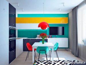 طراحی دکوراسیون رنگی منزل