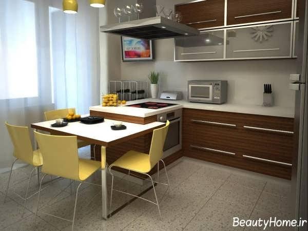 کابینت آشپزخانه با رنگ قهوه ای