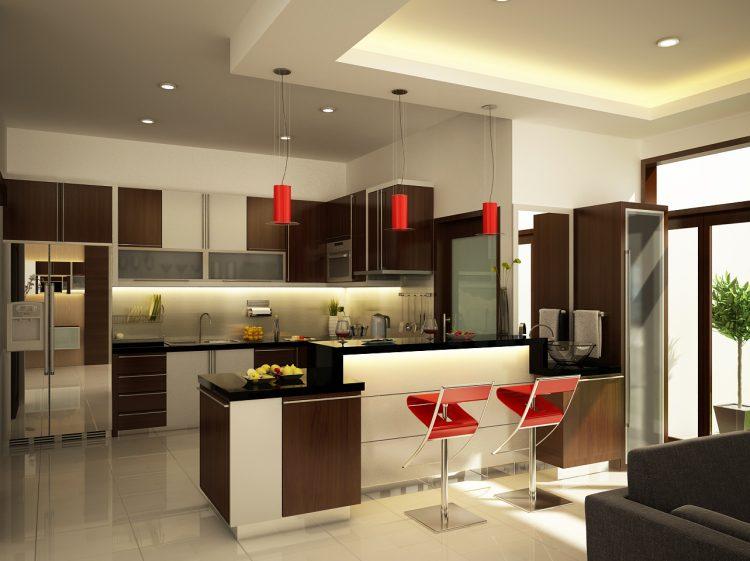 آشپزخانه با کابینت کرم قهوه ای زیبا و جدید