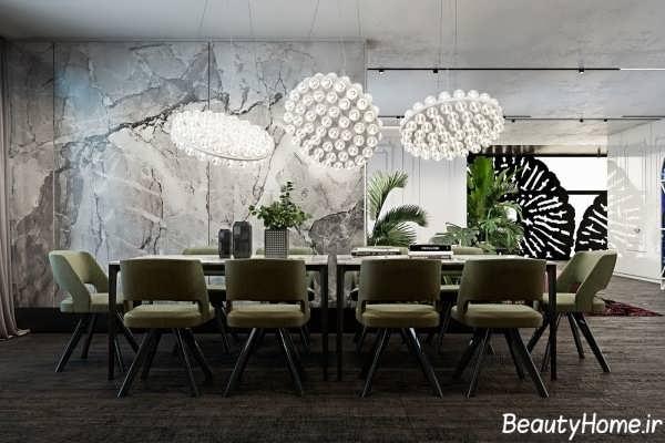 طراحی نورپردازی ایده آل بر روی میز نهارخوری