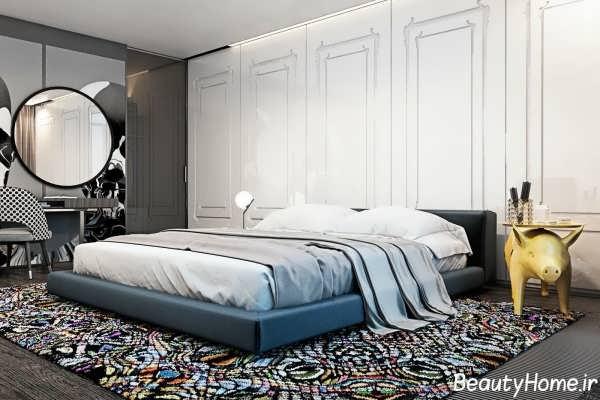 دکوراسیون داخلی اتاق خواب با تم روشن و تیره