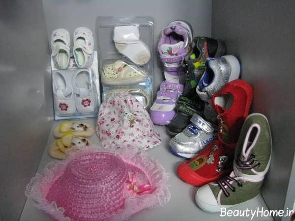 چیدمان کفش های نوزاد دختر