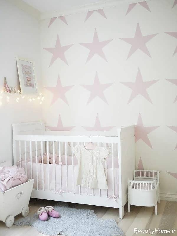 کاغذ دیواری اتاق نوزاد با طرح ستاره